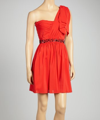 Tango Red Embellished Drape Asymmetrical Dress
