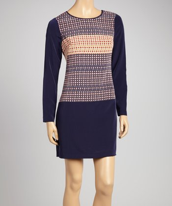 Blue Geometric Shift Dress