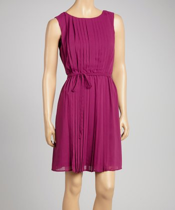 Purple Pleated Blouson Dress