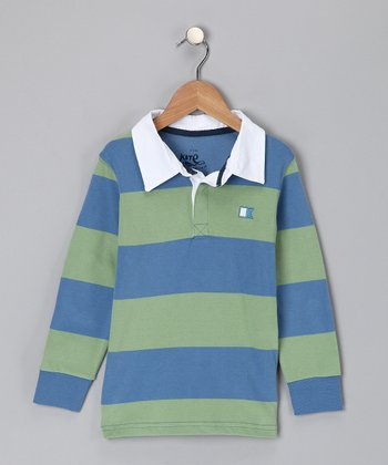Blue & Green Stripe Organic Polo - Toddler & Boys