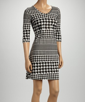 Black Houndstooth Three-Quarter Sleeve Dress - Women