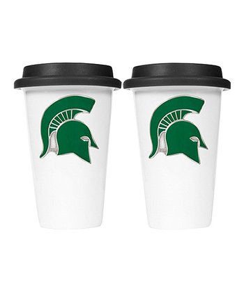 Michigan State Ceramic 12-Oz. Travel Mug - Set of Two