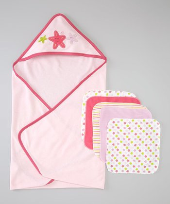 Pink Starfish Hooded Towel Set