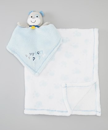 Blue 'My Best Pup' Security Blanket & Blanket