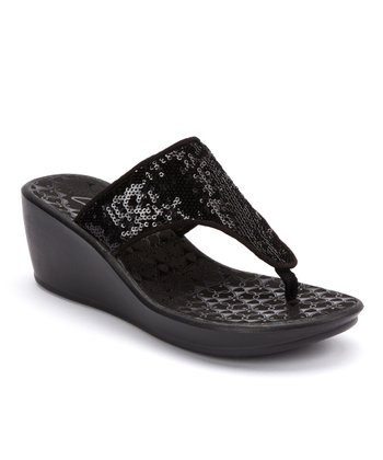 Black Mimic Jane Wedge Sandal