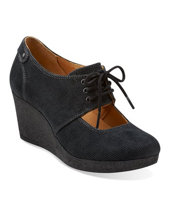 Black Vogue Tulip Corduroy Wedge - Women