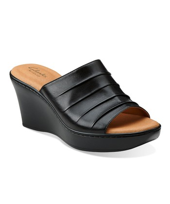 Black Puzzle Peace Wedge Sandal - Women