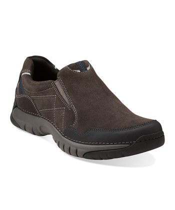 Dark Gray Suede Roebling Twin Slip-On Shoe - Men