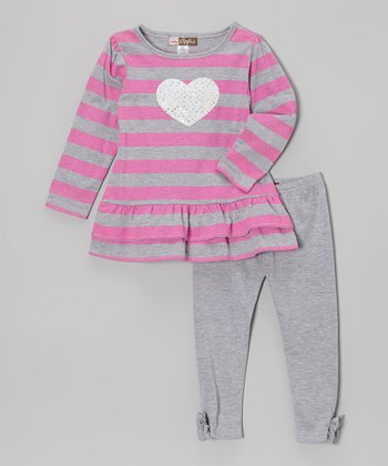 Pink & Gray Stripe Ruffle Tunic & Leggings - Toddler