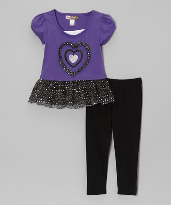 Purple Sequin Layered Tunic & Leggings - Toddler