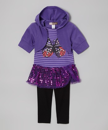 Purple Butterfly Sequin Layered Tunic & Leggings - Toddler