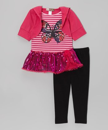 Fuchsia Butterfly Sequin Layered Tunic & Leggings - Toddler