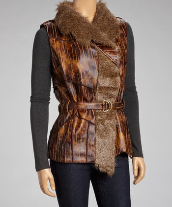 Brown Pleather & Faux Fur Vest - Women