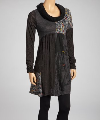 Black & Gray Patchwork Sweater Dress