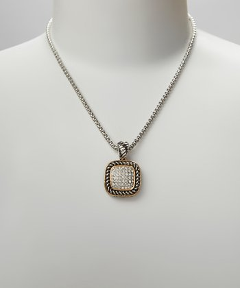 Pavé Crystal & Two-Tone Square Pendant Necklace