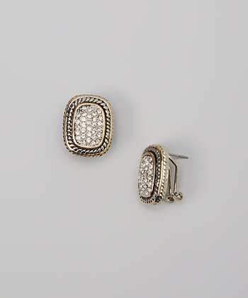 Pavé Crystal & Two-Tone Rectangular Earrings