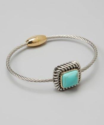 Turquiose & Two-Tone Square Stone Bangle