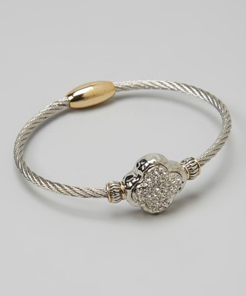 Pavé Crystal & Silver Quatrefoil Twist Bangle