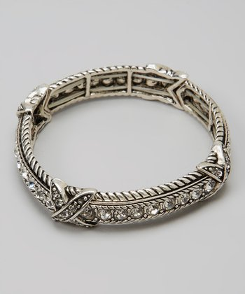 Clear Crystal & Silver Scroll Stretch Bracelet