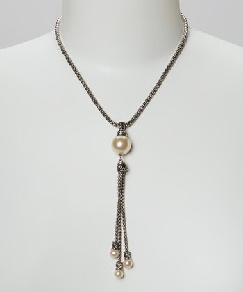 Pearl & Silver Drop Chain Necklace