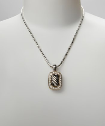 Silver Pave Crystal Rectangle Pendant Necklace