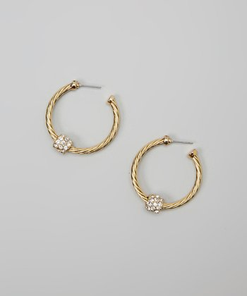 Clear Crystal & Gold Twist Hoop Earrings