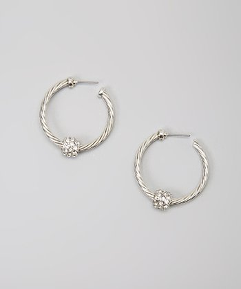 Clear Crystal & Silver Twist Hoop Earrings