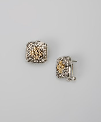 Silver & Gold Crystal Cross Square Earrings
