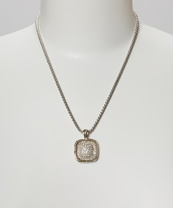 Silver Pave Crystal Square Pendant Necklace