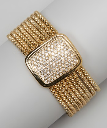 Pavé Crystal & Gold Multi-Strand Rectangular Bracelet