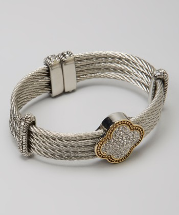 Pavé Crystal & Silver Quatrefoil Multi-Strand Bangle