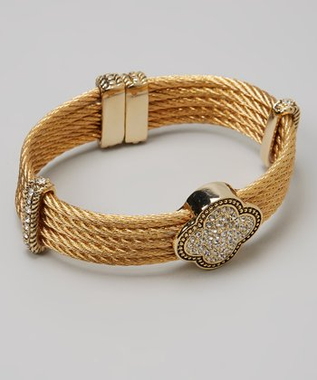 Pavé Crystal & Gold Quatrefoil Multi-Strand Bangle