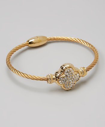 Gold Pave Crystal Clover Twist Bangle