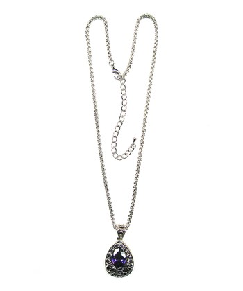 Silver & Purple Crystal Teardrop Pendant Necklace