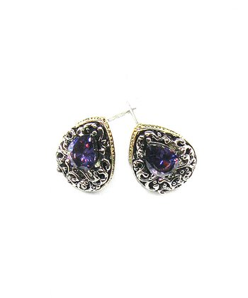 Silver & Purple Crystal Teardrop Earrings
