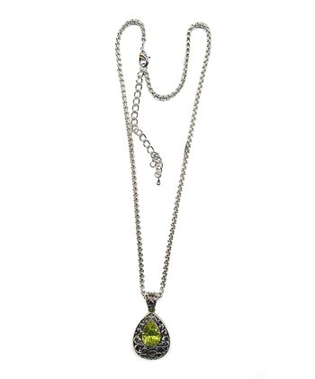 Silver & Peridot Crystal Teardrop Pendant Necklace
