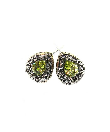 Silver & Peridot Crystal Teardrop Earrings