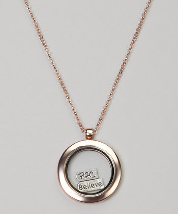 Rose Gold Round Floating Locket Necklace Set