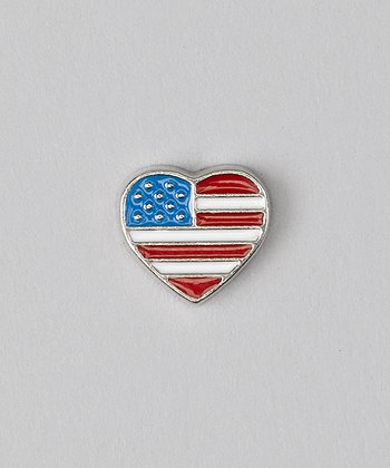 Red & Blue Flag Heart Charm