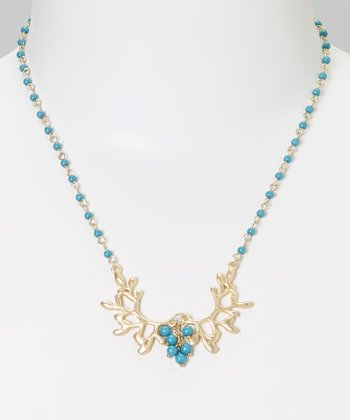 Gold & Blue Tree Necklace