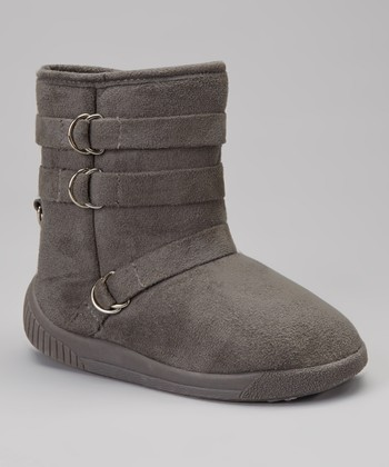 Gray Hanging Buckle Boot - Kids