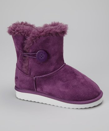 Purple Button Bootie