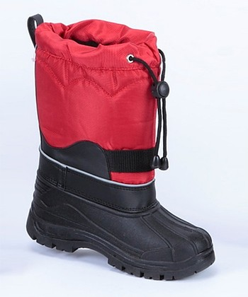 Black & Red Snow Boot - Kids
