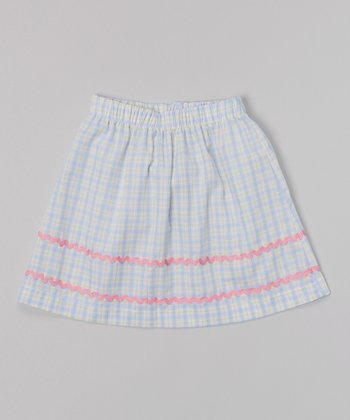 Blue & Pink Plaid Rickrack Skirt - Infant, Toddler & Girls