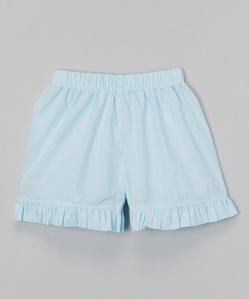 Aqua Seersucker Ruffle Shorts - Infant, Toddler & Girls