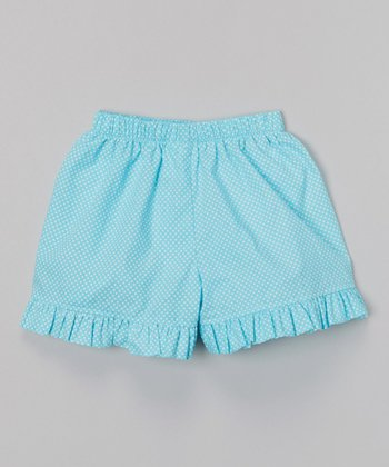 Aqua Polka Dot Ruffle Shorts - Infant, Toddler & Girls