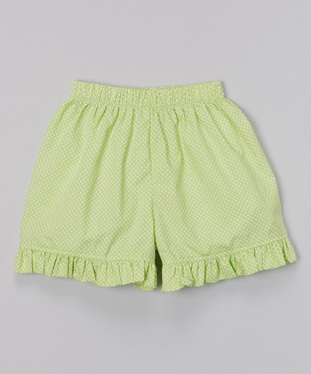 Lime Polka Dot Ruffle Shorts - Infant, Toddler & Girls