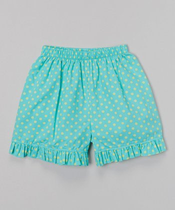 Turquoise & Green Polka Dot Ruffle Shorts - Infant & Girls