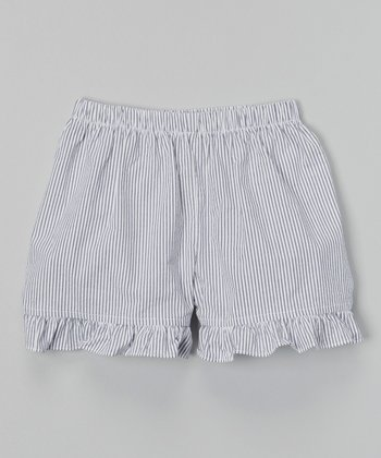 Navy Seersucker Ruffle Shorts - Infant, Toddler & Girls