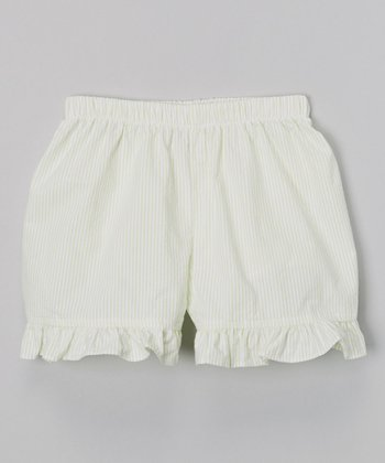 Lime Seersucker Ruffle Shorts - Infant, Toddler & Girls